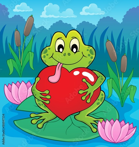 Foto op Plexiglas Voor kinderen Valentine frog theme image 4