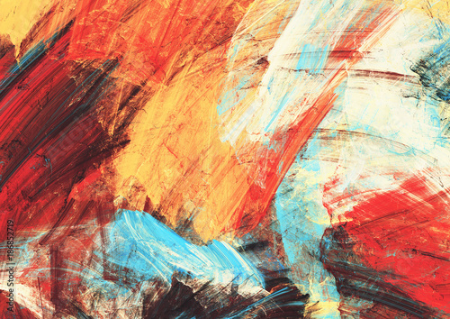 Zdjęcia na płótnie, fototapety na wymiar, obrazy na ścianę : Bright artistic splashes on white. Abstract painting color texture. Modern futuristic pattern. Multicolor dynamic background. Fractal artwork for creative graphic design.