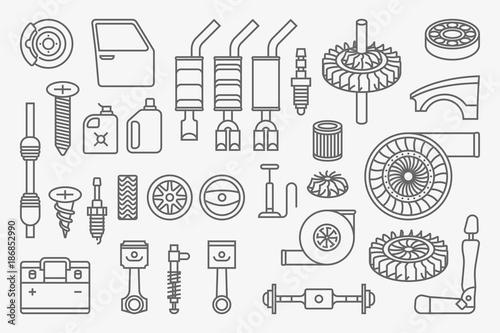 Car Parts Vector Icons Set Buy Photos Ap Images Detailview