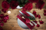 Romantic table setting in red - 186854310