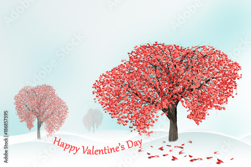love tree full of heart shaped leaves