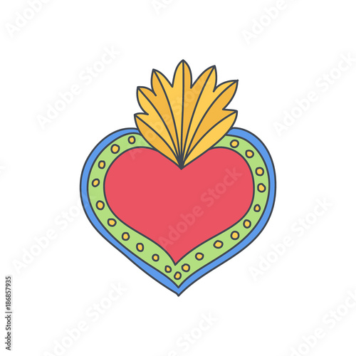 Sacred heart vector doodle icon