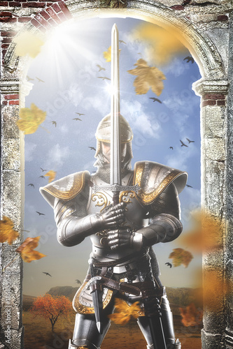 Portrait of a medieval knight Poster
