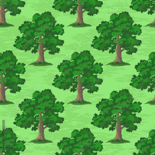 Aluminium Groene Seamless Pattern, Oak Tree, Season Summer and Spring, on Tile Green Background. Vector