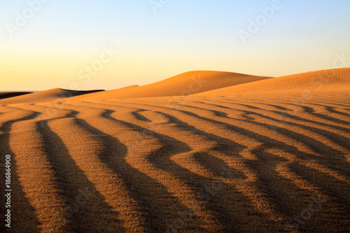 Beautiful sharp ripples on small sand desert in Maspalomas on Gran Canaria.