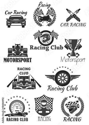 Foto op Plexiglas F1 Racing club and motorsport isolated symbol set