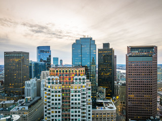 Aerial view of Boston in Massachusetts, USA at Government Center.