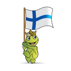 crowned happy frog cartoon walking with Finland flag
