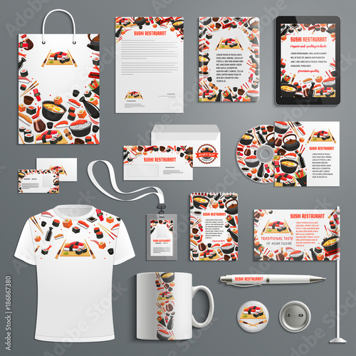 Advertising promo vector items Japanese cuisine