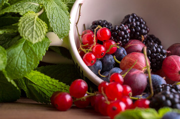 Berries on a wooden background