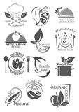 Organic food and vegetarian nutrition icon set - 186872769