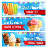 Ice cream chocolate and vanilla dessert 3d banner