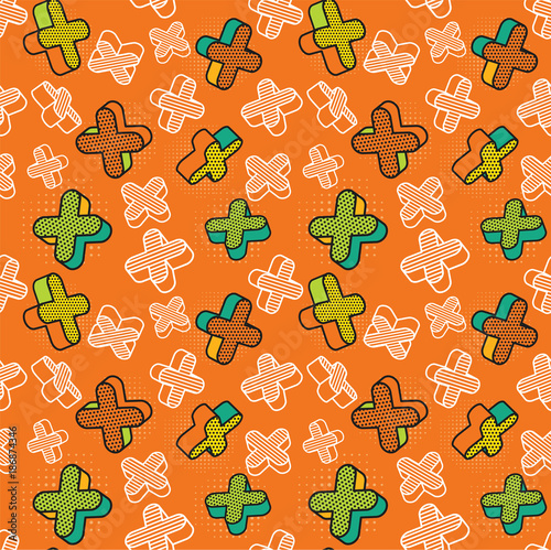 Fotobehang Pop Art Vector seamless pattern, colorful pattern with 3d graphic elements. You can use this as a wallpaper in a childrens room