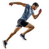 one caucasian man runner jogger running jogging isolated on white background with shadows - 186876358