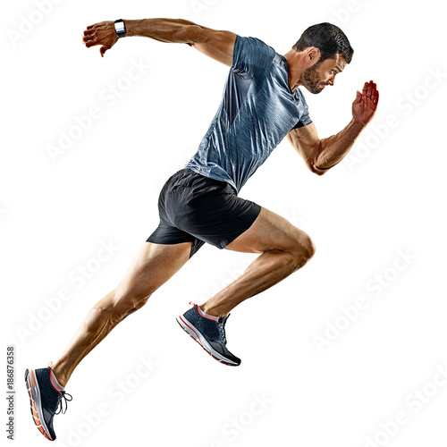 Aluminium Hardlopen one caucasian man runner jogger running jogging isolated on white background with shadows