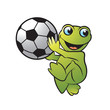 cartoon happy frog or mascot holding and walking foot ball vector illustration