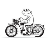 black outline frog cartoon or mascot riding motor bicycle happily vector illustration - 186877162