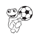 black outline happy frog cartoon or mascot holding foot ball  vector illustration - 186877567