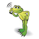 frog cartoon or mascot bending and calling with mobile phone happily vector illustration - 186877585