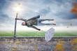 Leinwandbild Motiv Mann wird von einem Unwetter weggeweht