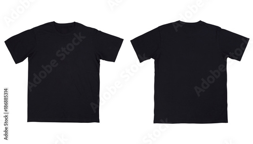 front and back view black t shirt on white background buy photos