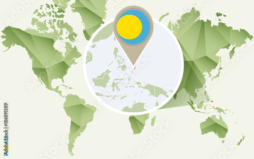 Infographic For Palau Detailed Map Of Palau With Flag Buy Photos