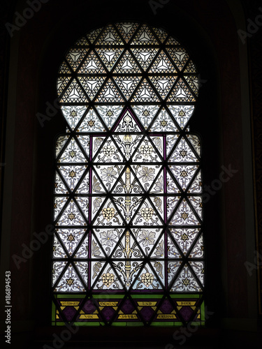 Close-up of stained glass window of the Spanish Synagogue, Old Town, Prague, Cze Poster