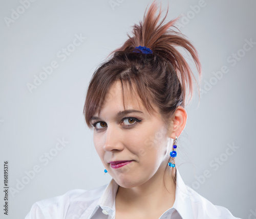 Deurstickers Kapsalon Portrait of young woman with hairstyle