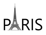 silhouette of the Eiffel tower and Paris text, on a white background