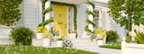 spring decorated porch with a lot of flowers. 3d rendering - 186898106