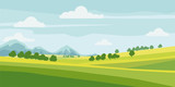 Cute rural landscape tree, field, mountains, cartoon style, vector, illustration, isolated