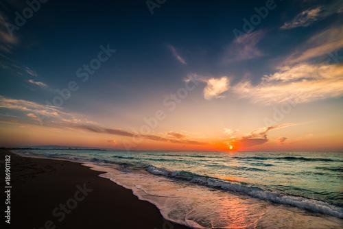Aluminium Strand Sunrise at Tunisia coast.