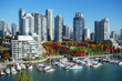 Autumn landscape of false creek in Vancouver downtown, BC, Canada