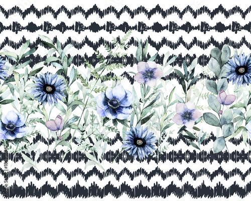 Watercolor seamless border pattern. Summer flower background. Hand drawn illustration - 186903967