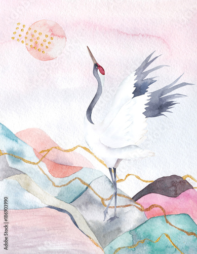 Abstract watercolor background with crane. Japan design. Hand drawn illustration - 186903990