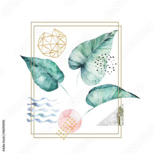 Watercolor leaves set. Hand drawn illustration. Isolated image - 186904140