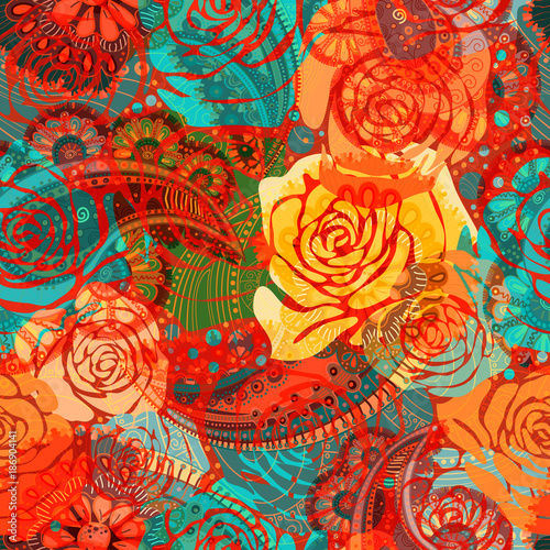 Bright floral pattern with stylized roses. Vector illustration with hand drawn flowers