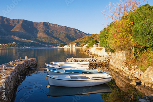 Calm autumn landscape. View of Bay of Kotor (Adriatic Sea)  near Tivat city, Montenegro