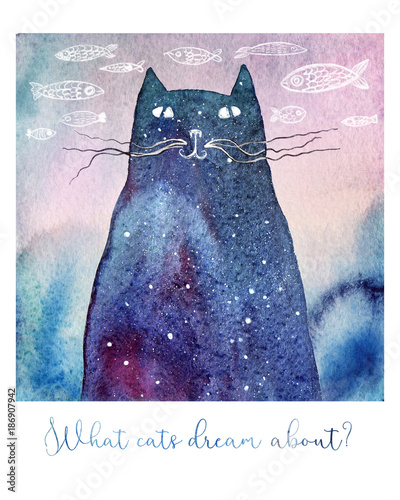 fototapeta na ścianę What cats dream about... Watercolor illustration of a dreamy cat. Hand drawn fishes on the background and a text below. It can be a birthday or greeting card.