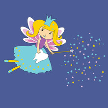Tooth Fairy  Magic Wand And Stars On Blue  First Tooth Certificate Sticker
