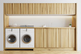 White and wooden laundry room - 186917938