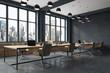 Black brick meeting room corner