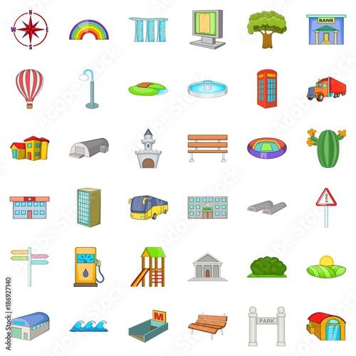Fotobehang Wit Landscape element icons set, cartoon style