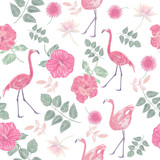 seamless  pattern with flowers and flamingos