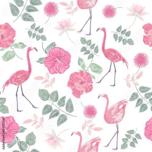 Fototapeta seamless pattern with flowers and flamingos