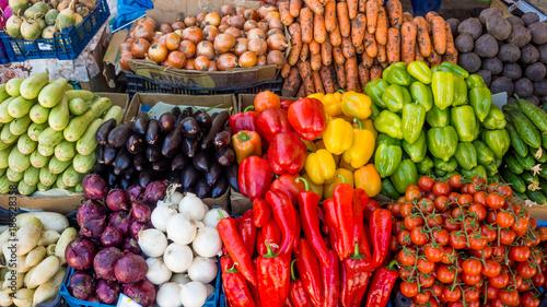 various colorful raw vegetables. vegetables  on food market - 186928358