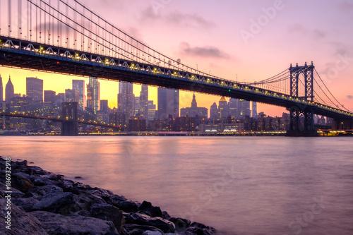 Foto op Aluminium New York Manhattan and Brooklyn Bridges and Downtown Manhattan viewed from Brooklyn Bridge Park
