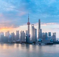 shanghai skyline with morning glow © chungking