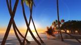 Sunrise at a tropical romantic heart-shaped island, CG. - 186949726