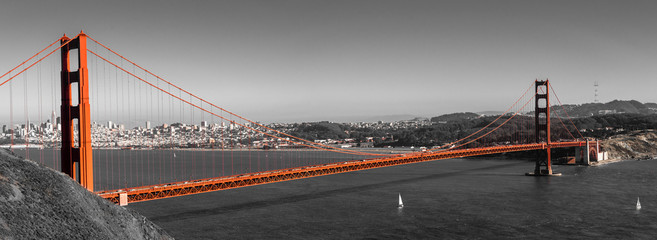 Panorama Golden Gate Bridge in San Francisco